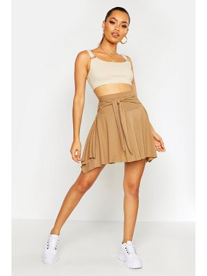 Boohoo Tie Front Ribbed Skater Skirt