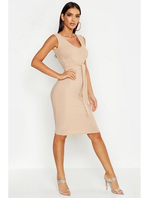 Boohoo Tie Front Sleeveless Midi Dress