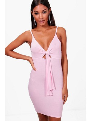 Boohoo Tie Front Strappy Bodycon Dress