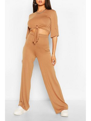 Boohoo Tie Front T-Shirt & Pants Two-Piece Set
