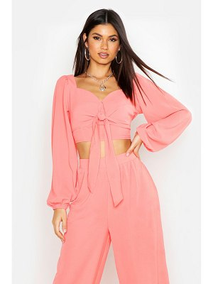 Boohoo Tie Front Volume Sleeve Top
