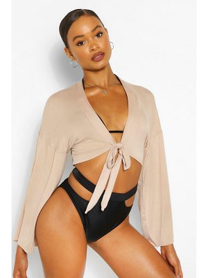 Boohoo Tie Front Wide Sleeve Beach Top