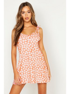 Boohoo Tie Strap Bust Detail Floral Sun Dress