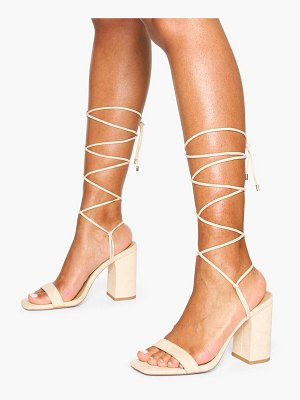 Boohoo Tie Up Block Heel Sandals