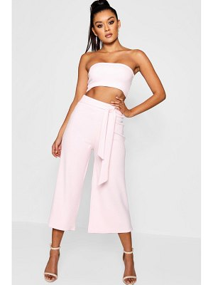 Boohoo Tie Waist Culotte Two-Piece Set