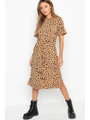 Boohoo Tie Waist Dalmatian Print Shift Dress
