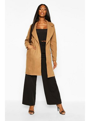 Boohoo Tie Waist Pocket Detail Wool Look Coat