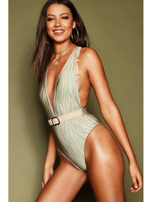 Boohoo Tiger Print Belted Plunge Swimsuit