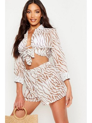 Boohoo Tiger Shirt & Short Beach Co-Ord