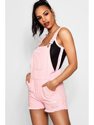 BOOHOO Tina Fray Hem Denim Dungaree Shorts
