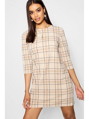 Boohoo Tonal Check 3/4 Sleeve Shift Dress