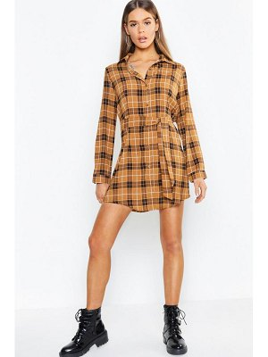 Boohoo Tonal Check Belted Woven Shirt Dress