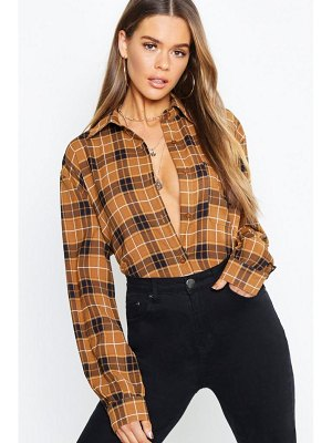 Boohoo Tonal Check Collared Woven Shirt