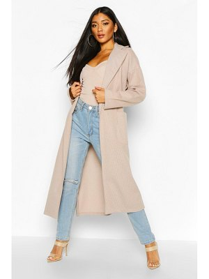 Boohoo Tonal flannel Belted Wool Look Coat