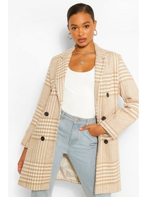 Boohoo Tonal Flannel Double Breasted Wool Look Coat