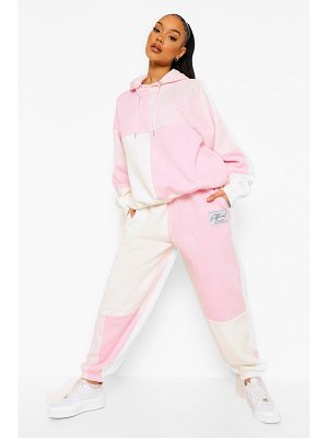 Boohoo Tonal Patchwork Colour Block Tracksuit