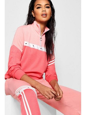 Boohoo Tonal Popper Stripe Track Top