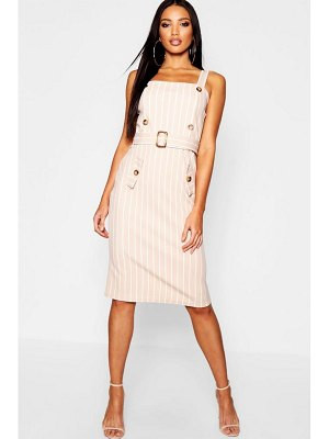 Boohoo Tonal Stripe Belted Pinafore Dress