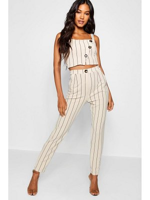 Boohoo Tonal Stripe Mock Horn Button Trouser Co-Ord