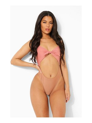 Boohoo Tonal Tie Front Cut Out Bathing Suit
