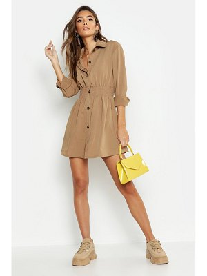 Boohoo Tonal Utility Shirred Waist Shirt Dress