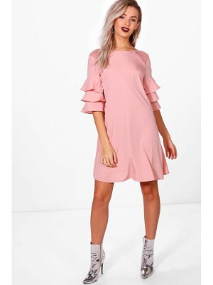 Boohoo Triple Frill Lace Insert Swing Dress