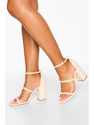 Boohoo Triple Strap Block Heel Sandals