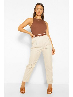 Boohoo Turn Up Belted Pleat Front Pants