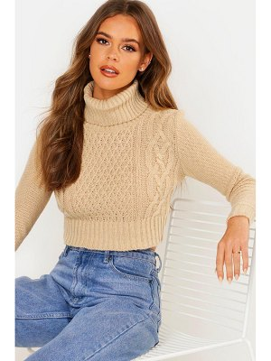 Boohoo Turtle Neck Cable Crop Sweater