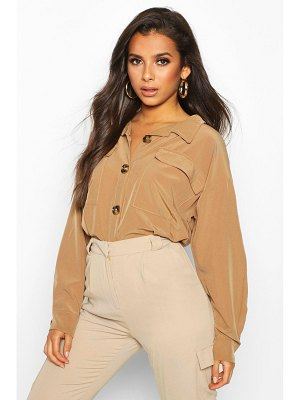 Boohoo Utility Pocket Gathered Waist Shirt