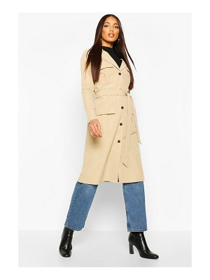 Boohoo Utility Pocket Tie Waist Trench Coat