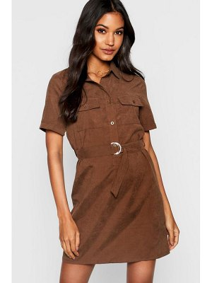 Boohoo Utility Suedette Belted Shirt Dress