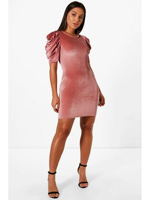 Boohoo Velvet Balloon Sleeve Shift Dress