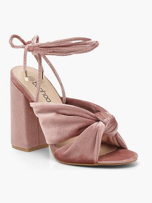 Boohoo Velvet Cross Strap Ankle Wrap Block Heels