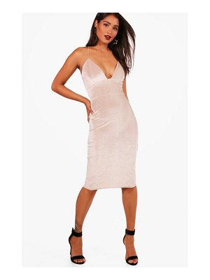 Boohoo Velvet Plunge Neck Midi Dress