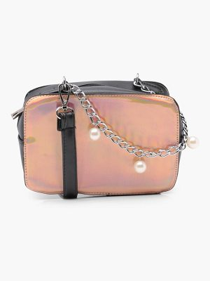 BOOHOO Vi Holographic Contrast Box Cross Body Bag