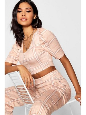 Boohoo Volume Sleeve Checked Top + Trouser Co-Ord