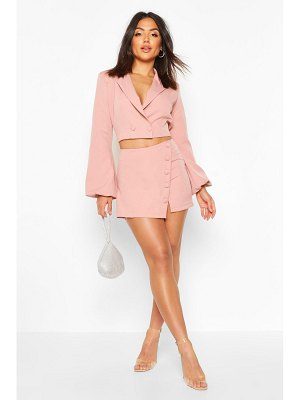 Boohoo Volume Sleeve Double Breasted Cropped Blazer
