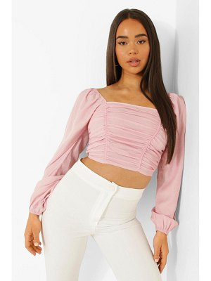 Boohoo Volume Sleeve Ruched Front Top