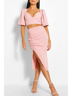 Boohoo Volume Sleeve Top & Ruched Midi Skirt Two-Piece