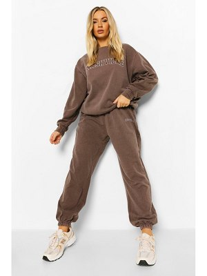 Boohoo Washed Chocolate Nashville Print Tracksuit