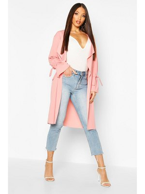 Boohoo Waterfall Tie Cuff Duster Coat