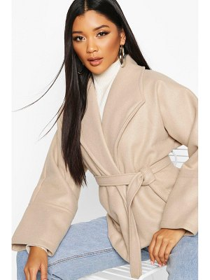 Boohoo Wide Collar Belted Short Wool Look Coat