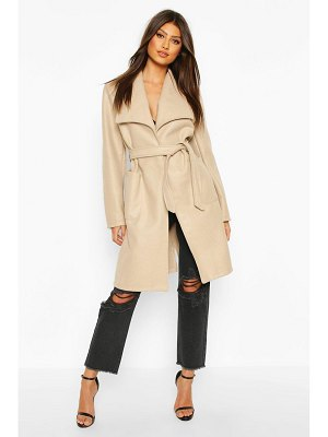 Boohoo Wide Collar Belted Wool Look Coat