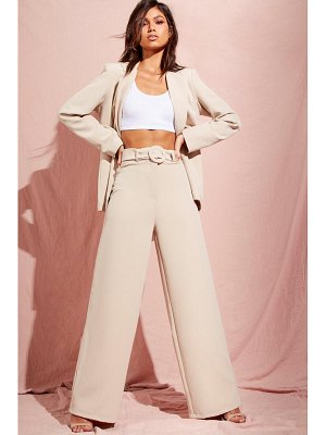 Boohoo Wide Leg Belted High Waisted Trouser