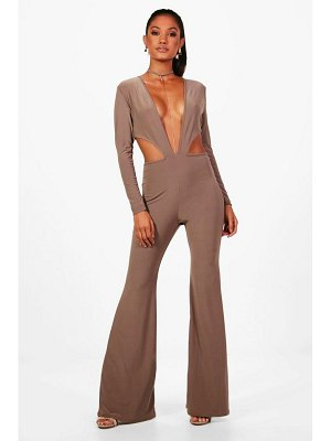 Boohoo Wide Leg Chain Detail Plunge Jumpsuit