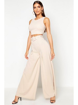 Boohoo Wide Leg Self Belt Pants