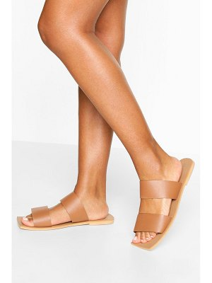 Boohoo Wide Width Double Strap Square Toe Slides