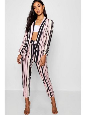 Boohoo Stripe Rouche Detail Pocket Blazer