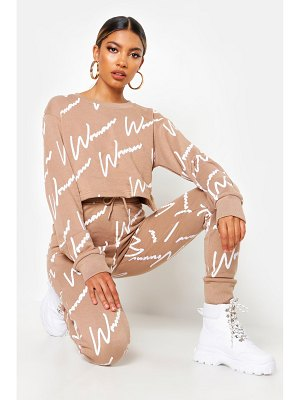 Boohoo Woman All Over Print Crop Sweat Tracksuit